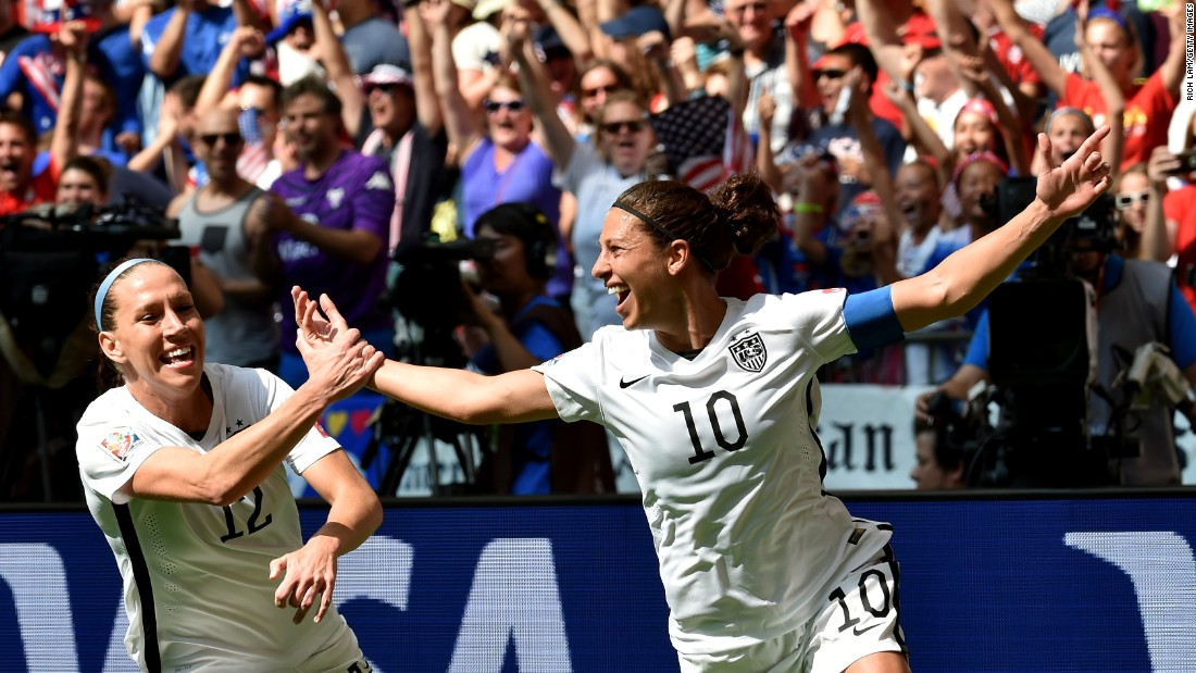 Carli Lloyd of the United States, celebrates after scoring in the 2015 Women's World Cup final against Japan. Her goal was an audacious effort from the halfway line that left the Japanese goalkeeper sprawled on the floor.