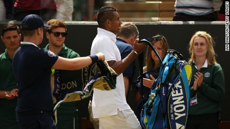 Nick Kyrgios lost to Richard Gasquet on Monday to end his Wimbledon campaign but didn't exit quietly.