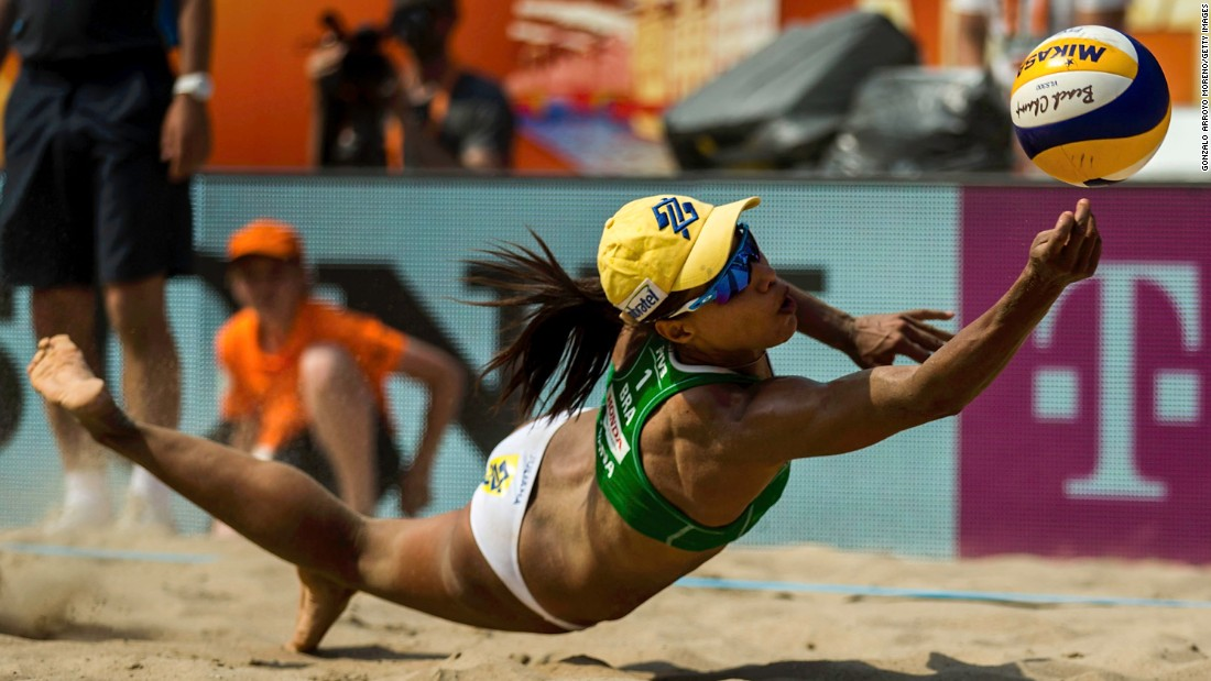 Brazil's Juliana Silva bumps the ball during a match at the Beach Volleyball World Championships on Friday, July 2. Silva and Maria Antonelli won bronze at the event.