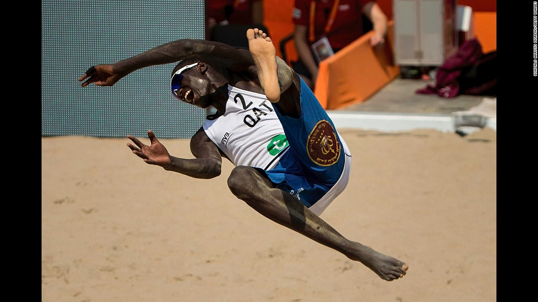 Qatar's Younousse Cherif celebrates after winning a match Friday, July 2, at the Beach Volleyball World Championships.