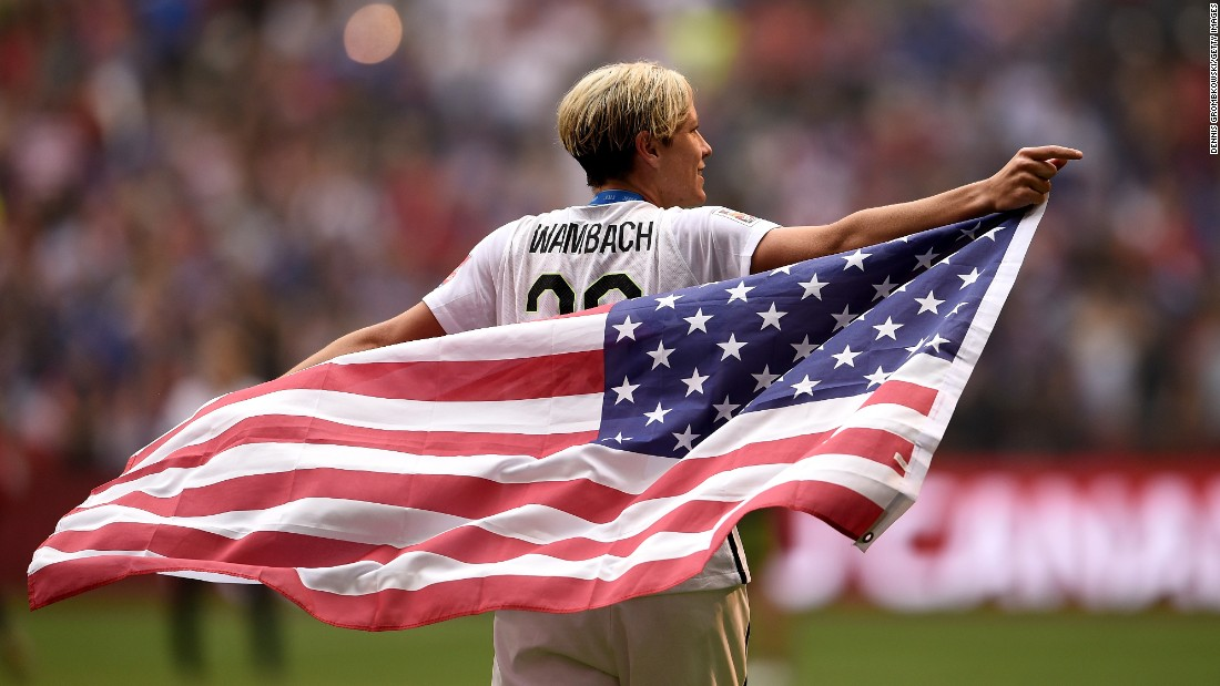 "U.S. captain Abby Wambach holds the American flag as she celebrates the team's World Cup title on Sunday, July 5. <a href=""http://www.cnn.com/2015/06/30/sport/gallery/what-a-shot-sports-0630/index.html"" target=""_blank"">See 38 amazing sports photos from last week</a>"