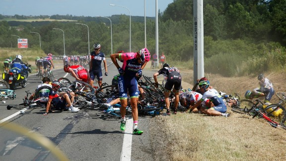 Mass pile ups in the peloton are an occupational hazard of a professional cyclist's life -- but it still hurts.