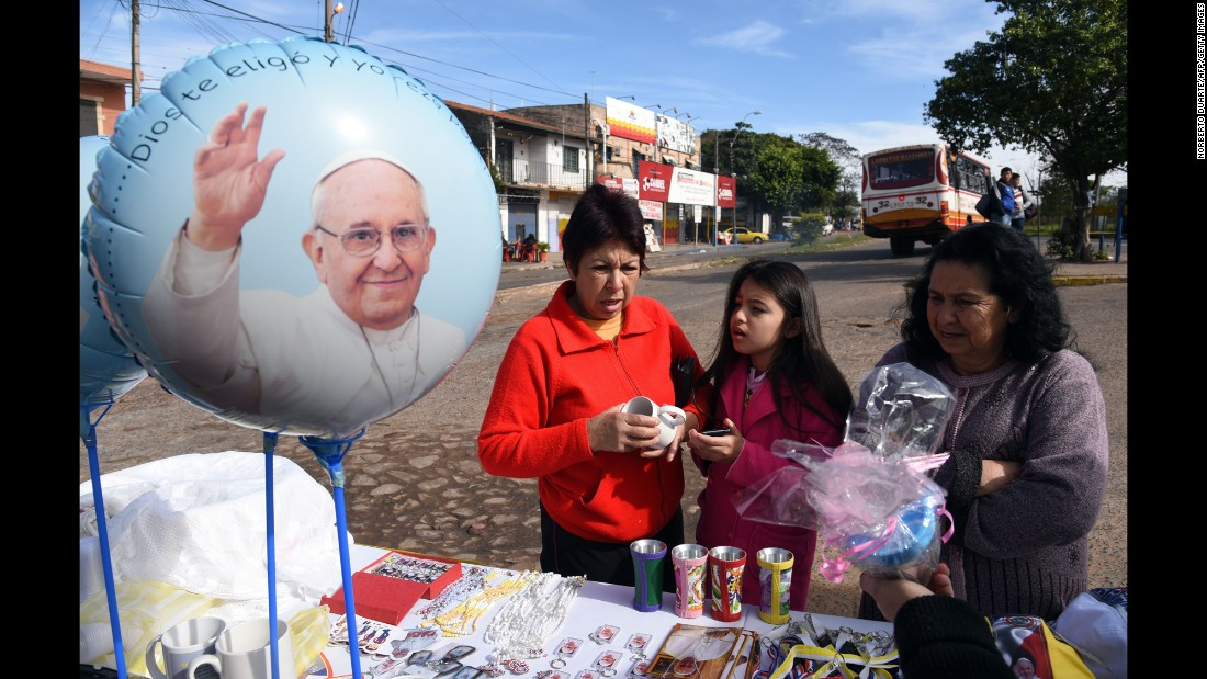 Religious memorabilia is sold in Asuncion, Paraguay, on July 6.