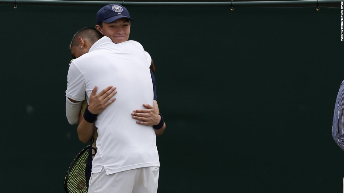 During his match with Gasquet, Kyrgios was hit with a code violation by the umpire for audibly swearing on court. He responded by seemingly throwing Gasquet's next service game, drawing boos from the crowd. Exasperated, Kyrgios sought comfort from the ball boy and embraced him as he offered the Australian his towel.