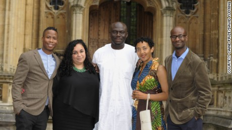 Shortlisted writers Masande Ntshanga, FT Kola and Elnathan John, Caine prize winner Namwali Serpell and shortlisted winner from 2005, Segun Afolabi