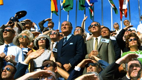 Former U.S. President Lyndon B. Johnson and then-Vice President Spiro Agnew were among the spectators at the historic launch.