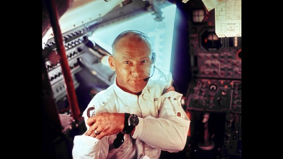 Aldrin is photographed by Armstrong inside Apollo 11