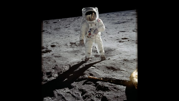 """Aldrin is photographed on the moon after Armstrong went first and called it """"one small step for man, one giant leap for mankind."""" Armstrong and Aldrin explored the Sea of Tranquility region of the moon. Meanwhile, Collins remained inside the command module for the duration of the mission."""