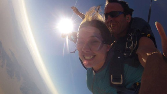 The day after the wedding, they went skydiving.