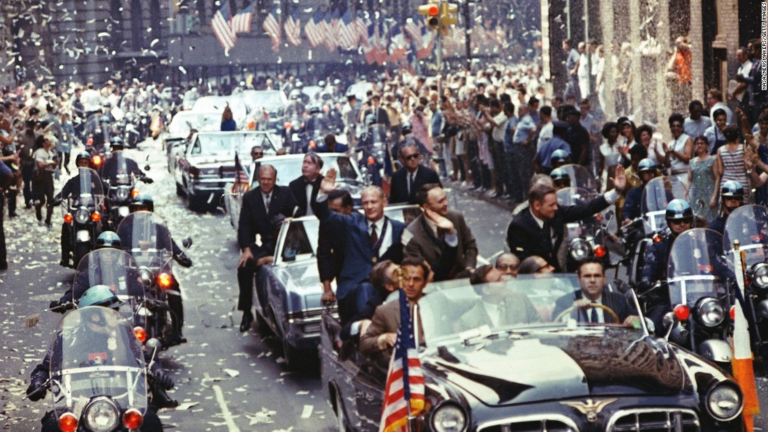 The crew of Apollo 11 -- Neil Armstrong, Buzz Aldrin and Michael Collins -- were thrown a ticker tape parade in 1969 in recognition of completing the first manned lunar landing. The Apollo 8 astronauts received similar recognition earlier the same year.