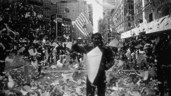 A man celebrates the U.S. hostages released after being held captive for 444 days in Iran. The group was thrown a parade in 1981.