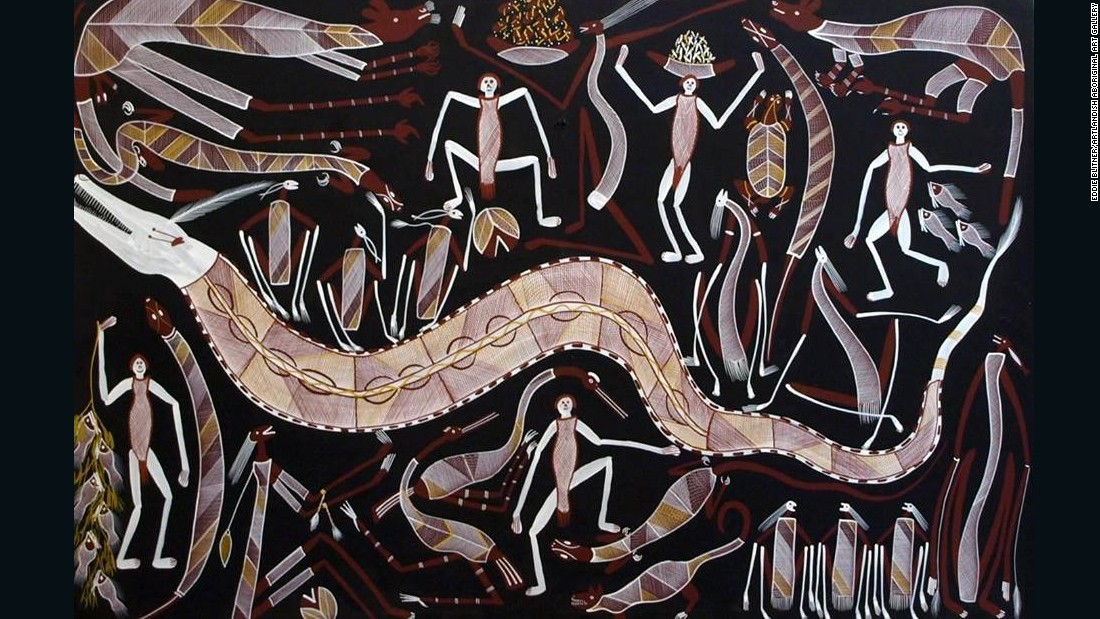 "<a href=""http://www.aboriginal-art-australia.com/artworks/eddie-blitner-mimi-spirits-hunting-eb224/"" target=""_blank"">Eddie Blitner</a> paints Mimis -- tiny match-thin spirits which Aborigines believe have lived in the escarpments since the beginning of time. Mimis are so shy they only come out at night with their weapons and pets such as goannas, kangaroos and porcupines. Pictured, Blitner's ""Mimi Spirits and Rainbow Serpent."""