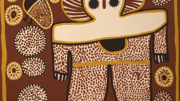 """This painting by Lily Karadada shows the Wandjina -- the supreme spirit being according to the Worrorra, Wunambal and Ngarinyin people of the Kimberley region. The Wandjina have large eyes but no mouth, as it is said this would make them too powerful. Pictured, """"Wanjina"""" by Lily Karadada."""