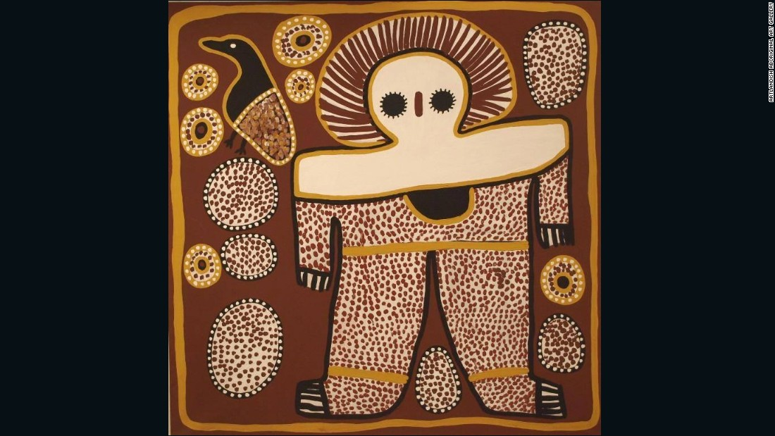 "This painting by <a href=""http://www.aboriginal-art-australia.com/artworks/lily-karadada-three-wandjina/"" target=""_blank"">Lily Karadada</a> shows the Wandjina -- the supreme spirit being according to the Worrorra, Wunambal and Ngarinyin people of the Kimberley region. The Wandjina have large eyes but no mouth, as it is said this would make them too powerful. Pictured, ""Wanjina"" by Lily Karadada."