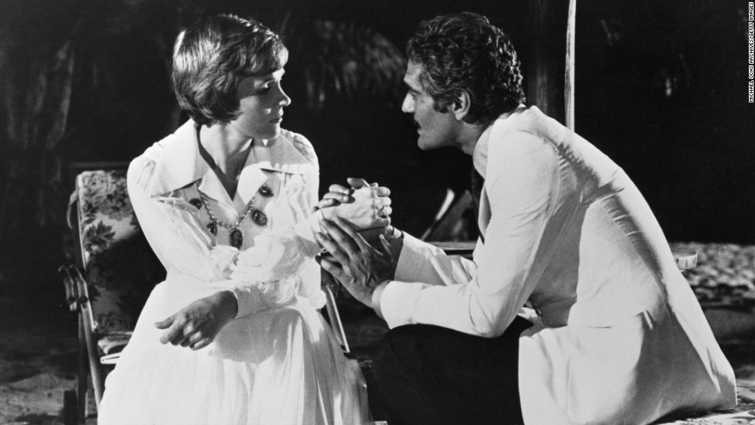 "Julie Andrews and Sharif appear in a scene from the 1974 movie ""The Tamarind Seed."" The Cold War tale marked Andrews' return to movies after four years away and was directed by her husband, Blake Edwards."