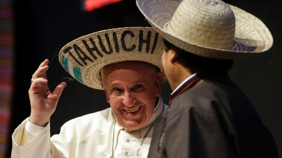 Pope Francis and Bolivian President Evo Morales wear traditional Bolivian hats Thursday, July 9, during the second World Meeting of Popular Movements in Santa Cruz.