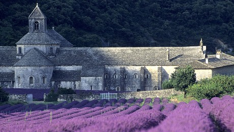 Behind the lavender fields, the Cistercian abbey of Sénanques. founded in the 12th century and still occupied by a community of monks.