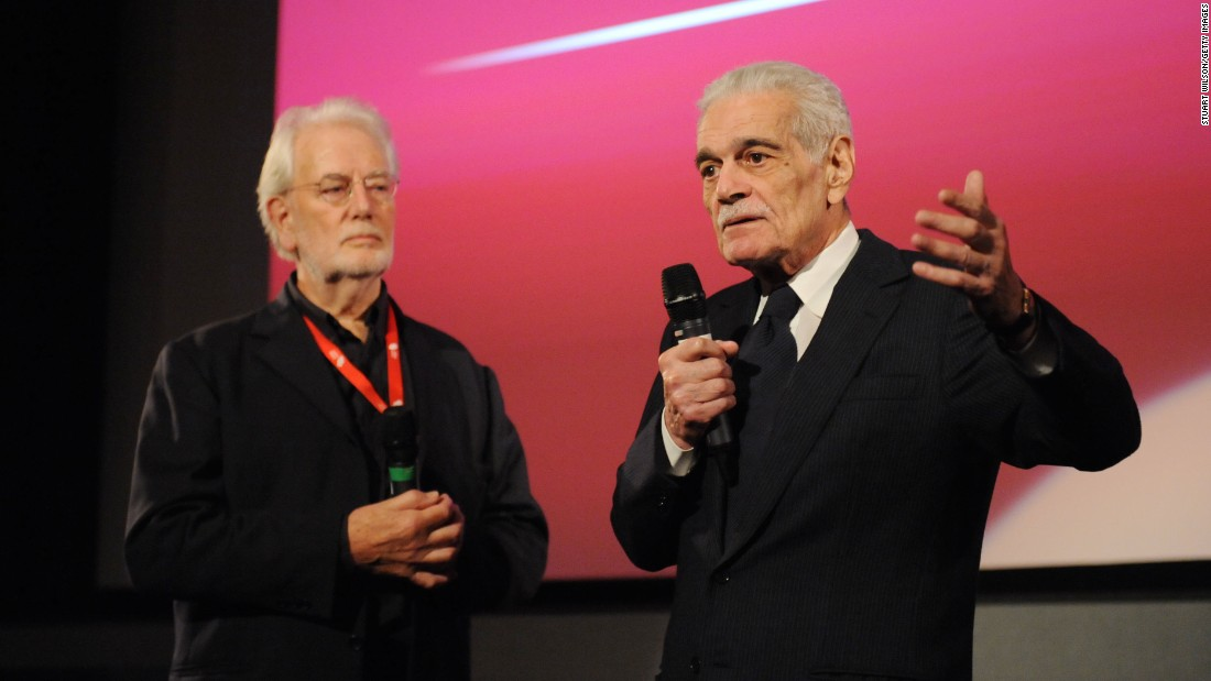 "Writer Clyde Jeavons and Sharif attend the ""Lawrence of Arabia"" restoration screening in 2012. The film is perhaps director David Lean's finest use of widescreen, particularly in the scene in which Sharif emerges from the distant desert."
