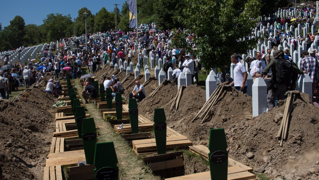 On the 20th anniversary of the Srebrenica massacre -- the largest massacre in Europe since World War II -- fresh graves await the burial of newly discovered and identified remains, on Saturday, July 11. Often only one or two bones are all that can be found, as many bodies were mixed together and destroyed in mass graves. One hundred and 36 new sets of remains were buried on this 20th anniversary.