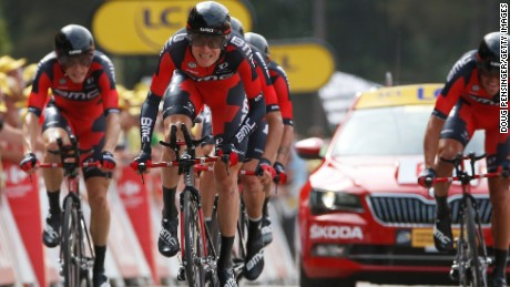 Tejay Van Garderen leads home the BMC Racing squad as it wins the team time trial at the Tour de France.