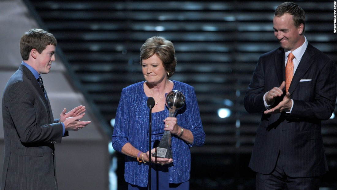 "<strong>Pat Summitt</strong> received the Arthur Ashe Courage Award in 2012. She was the head basketball coach for the University of Tennessee Lady Volunteers from 1974 to 2012. She's coached eight NCAA Championship teams, written three books and raised a son, who became a head basketball coach at 24. <a href=""http://www.cnn.com/2015/01/06/us/pat-summitt-fast-facts/"">Summitt</a> was forced to retire in 2012 because of Alzheimer's disease."