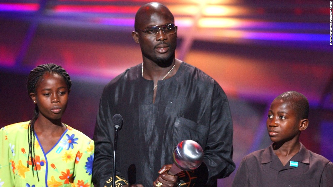 "<strong>George Weah </strong>was the <a href=""http://www.fifa.com/classicfootball/players/player=2187/"" target=""_blank"">1995 FIFA World Cup Player of the Year.</a> He received the 2004 Arthur Ashe Courage Award for his humanitarian work in his home country, Liberia. As a former <a href=""http://www.unicef.org/people/people_george_weah.html"" target=""_blank"">UNICEF</a> ambassador, he helped to publicize immunization campaigns, supported HIV/AIDS education and coached the national football team."