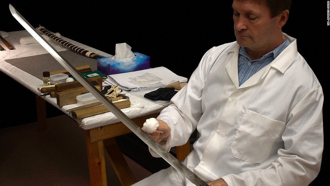 Swords can be maintained for centuries through careful polishing, as demonstrated here by British expert Paul Martin.