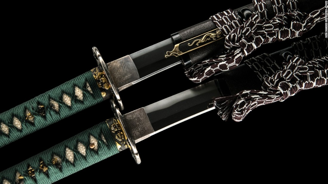 Pictured, short and long swords with matching koshirae (fittings) produced by 17th century master swordsmith Echigo no Kami Kanesada.