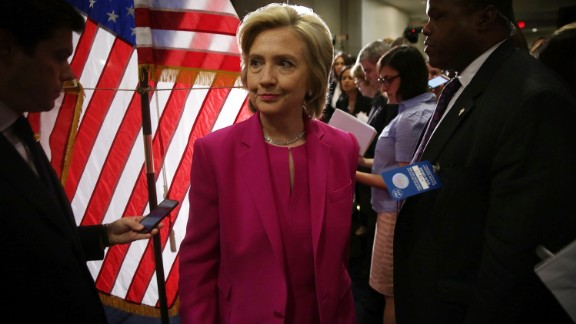 Democratic U.S. presidential hopeful and former U.S. Secretary of State Hillary Clinton leaves the podium after she spoke to members of the media July 14, 2015 on Capitol Hill in Washington, D.C.