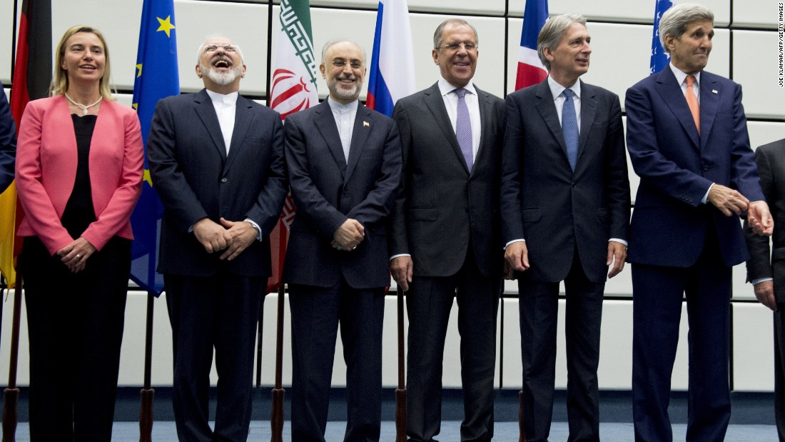 After arduous talks that spanned 20 months, negotiators reached a landmark deal aimed at reining in Iran's nuclear program, announced on July 14. From left, European Union High Representative for Foreign Affairs and Security Policy Federica Mogherini, Iranian Foreign Minister Mohammad Javad Zarif, Head of the Iranian Atomic Energy Organization Ali Akbar Salehi, Russian Foreign Minister Sergey Lavrov, British Foreign Secretary Philip Hammond and U.S. Secretary of State John Kerry pose for a group picture at the United Nations building in Vienna on July 14.