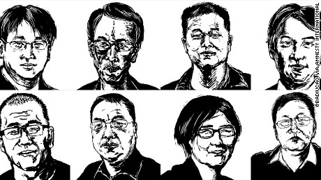 Illustration by cartoonist @badiucao of eight lawyers and their staff targeted in the recent crackdown by the Chinese authorities. Clockwise from top left: Wang Quanzhang, Liu Shihui, Liu Sixin, Li Heping, Zhou Shifeng, Wang Yu, Liu Xiaoyuan and Sui Muqing.  Liu Xiaoyuan has since been released.