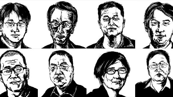 Illustration by cartoonist @badiucao of eight lawyers and their staff targeted in the recent crackdown by the Chinese authorities. Clockwise from top left: Wang Quanzhang, Liu Shihui, Liu Sixin, Li Heping, Zhou Shifeng, Wang Yu, Liu Xiaoyuan and Sui Muqing.  Liu Xiaoyuan has since been released.