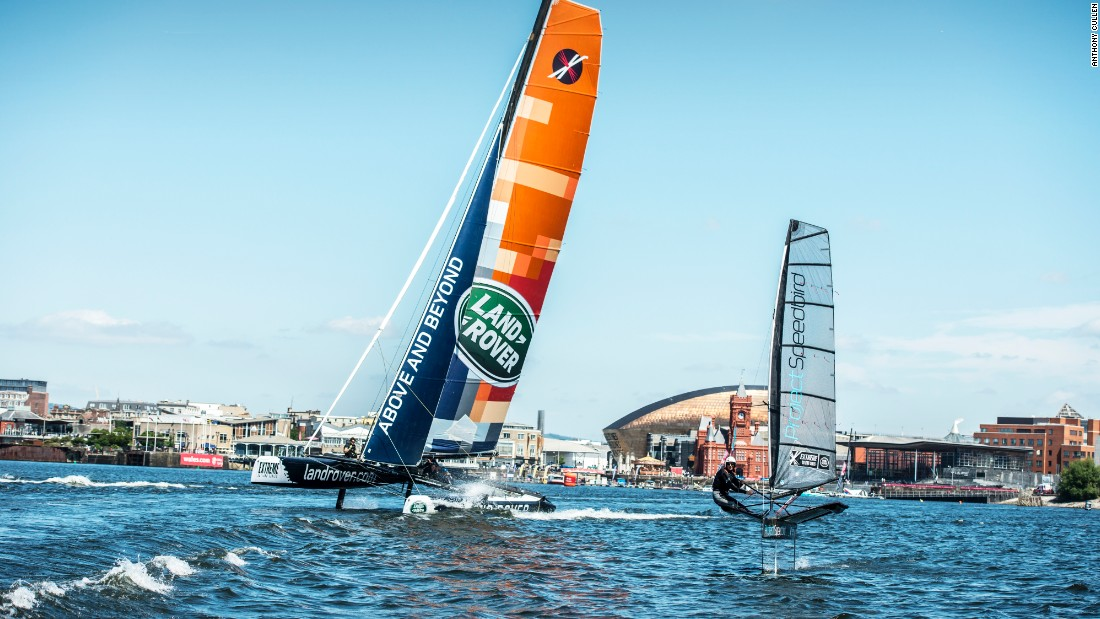 When the Extreme Sailing Series came to Cardiff, White took her boat onto the water in the nearby harbor.