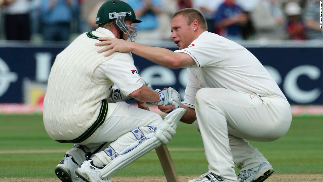 Friends after the battle: England all-rounder Flintoff consoles Lee after Australia lost the Second Ashes Test match by just two runs in 2005.