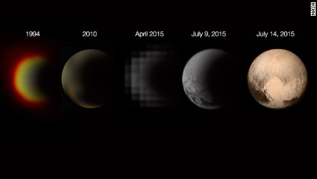 Photos of Pluto taken over time show how the planet has come into focus.