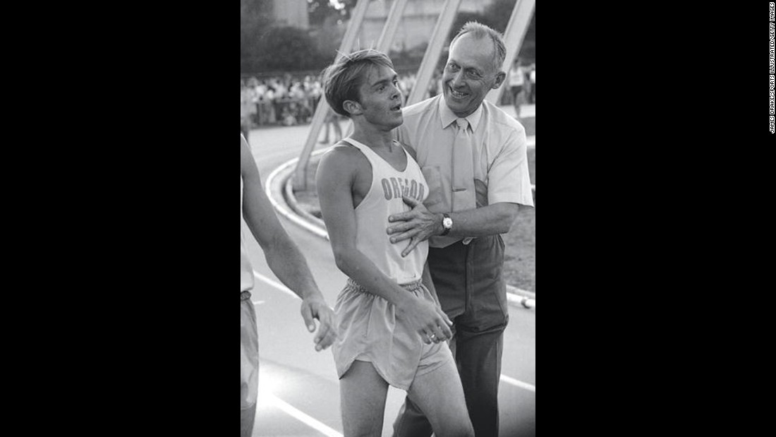 Bowerman, right, meets with runner Steve Prefontaine after a race in Eugene, Oregon, in June 1970. Prefontaine would later become the first track athlete to endorse Nike products.