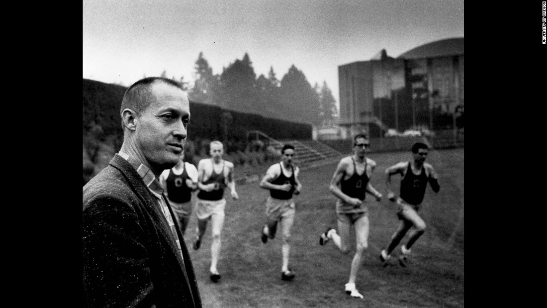 Blue Ribbon Sports was founded by Bill Bowerman, track-and-field coach from the University of Oregon, and former Oregon track athlete Phil Knight. Here, Bowerman watches some of his athletes train. Knight is fourth from the right.