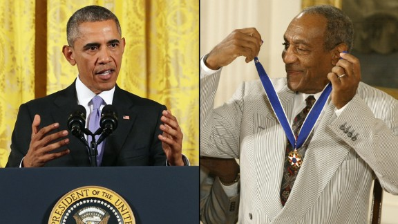 There's no precedent for revoking Bill Cosby's Presidential Medal of Freedom award, Obama said Wednesday at a White House press conference.