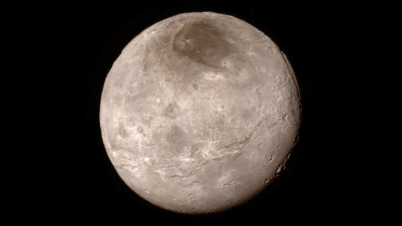 Remarkable new details of Pluto's largest moon, Charon, are revealed in this image released on July 15.