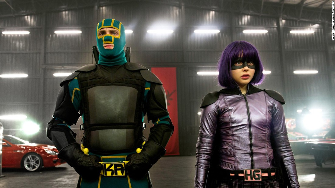 In the original ultraviolent comic adaptation, Kick-Ass was literally just a teenage boy who wanted to be a superhero -- and pre-teen Hit-Girl actually had experience as one. (Here, we see the older, wiser heroes in the sequel).