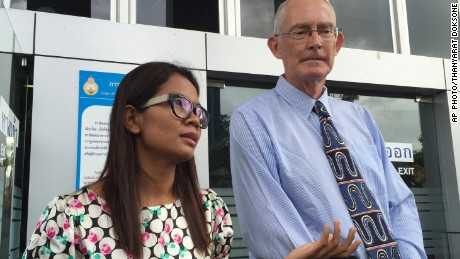 Phuketwan journalist Chutima Sidasathian and editor Alan Morison speak to reporters in Phuket, Thailand before appearing in court.