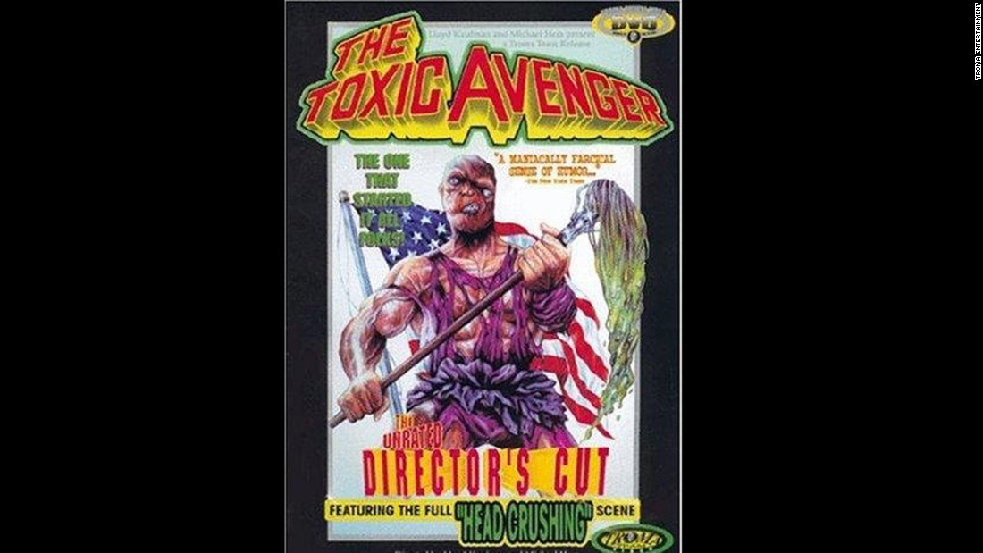 One of the original tongue-in-cheek movie superheroes is the Toxic Avenger, who debuted in a 1984 movie of the same name.