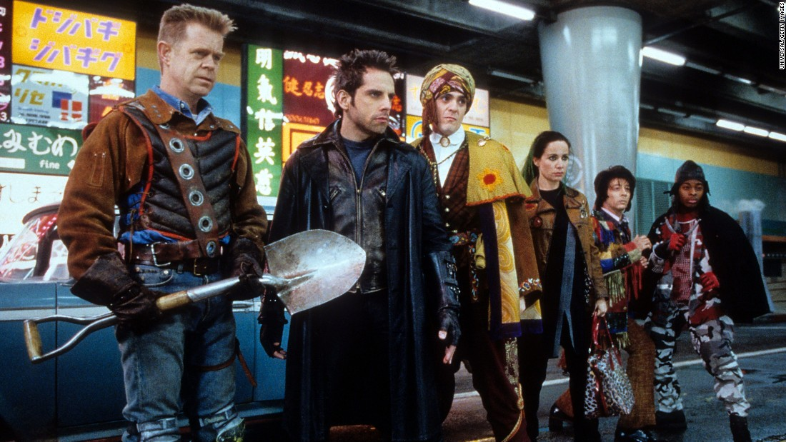 "In 1999, Mr. Furious (Ben Stiller) led a team of comic actors in ""Mystery Men,"" another movie that failed at the box office but developed a following. From left are Shoveler (William H. Macy), Mr. Furious, the Blue Raja (Hank Azaria), the Bowler (Janeane Garofalo), Spleen (Paul Reubens) and Invisible Boy (Kel Mitchell)."