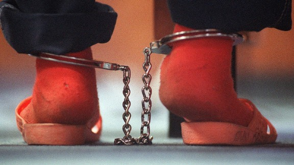 This 2001 photo shows the shackled ankles of a 10-year-old girl who was an alleged prostitute.