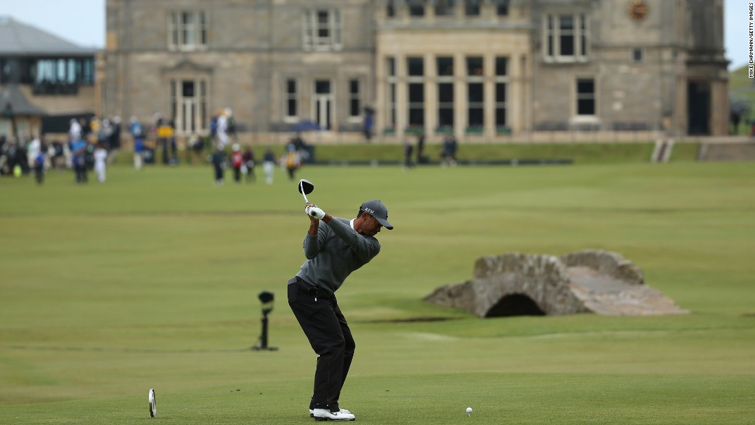 Woods was tied on four over with Tom Watson, the eight-time major winner who is playing at the Open Championship for the final time.