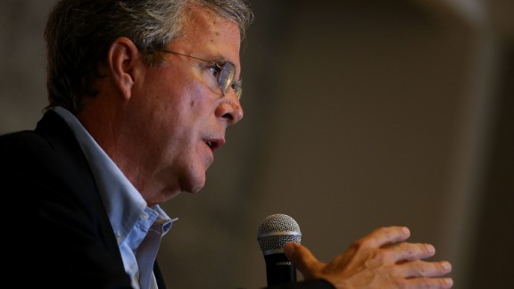 Republican presidential candidate and former Florida governor Jeb Bush speaks to workers at Thumbtack on July 16, 2015 in San Francisco, California.
