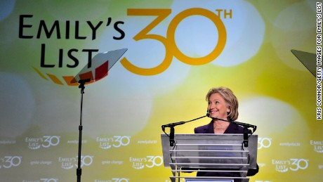 Former U.S. Secretary of State Hilllary Clinton speaks at EMILY's List 30th Anniversary Gala at Washington Hilton on March 3, 2015 in Washington, DC.