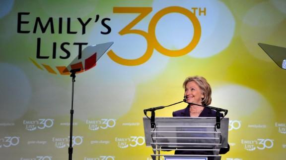 Former U.S. Secretary of State Hilllary Clinton speaks at EMILY's List 30th Anniversary Gala at Washington Hilton on March 3, 2015 in Washington, DC.