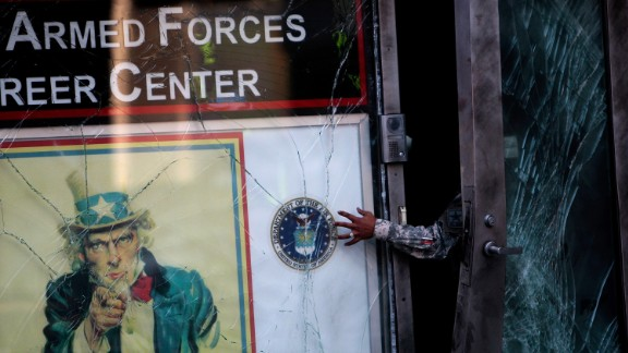 A Times Square recruiting station was damaged in 2008.