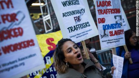 Protestors against labor trafficking outside the United Nations, September 2013, New York.